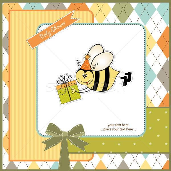birthday card with bee Stock photo © balasoiu