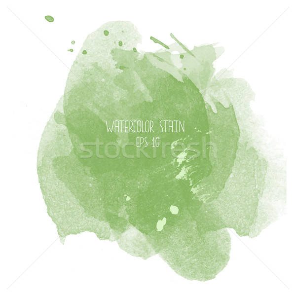 Green watercolor stain on white background Stock photo © balasoiu