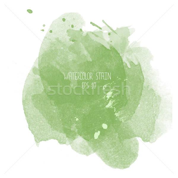 Verde acuarela mancha blanco resumen diseno Foto stock © balasoiu
