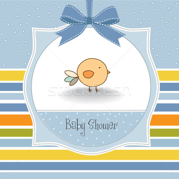 new baby announcement card with chicken Stock photo © balasoiu