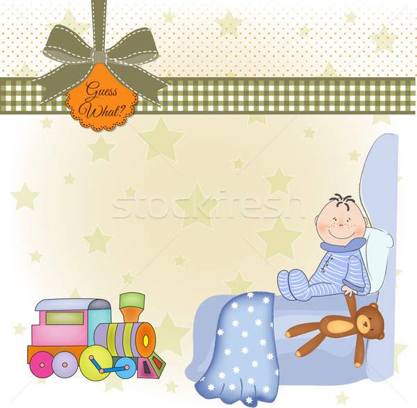 Welkom nieuwe baby jongen voedsel liefde Stockfoto © balasoiu