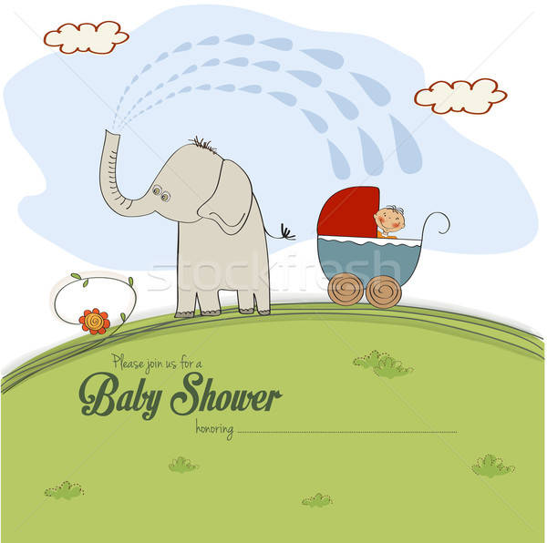 baby shower card with a boy in stroller sprayed by an elephant Stock photo © balasoiu