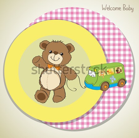 Stock photo: welcome baby card with teddy bear