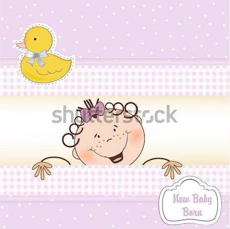 baby boy shower card with little baby Stock photo © balasoiu