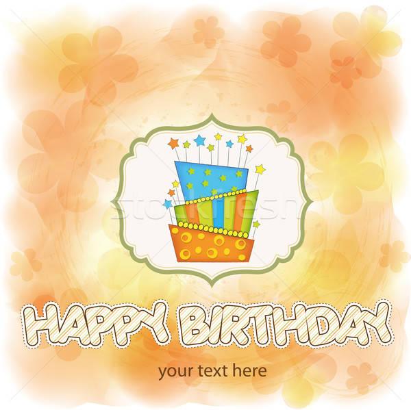 Stock fotó: Vektor · nagy · születésnapi · torta · égő · gyertyák · étel