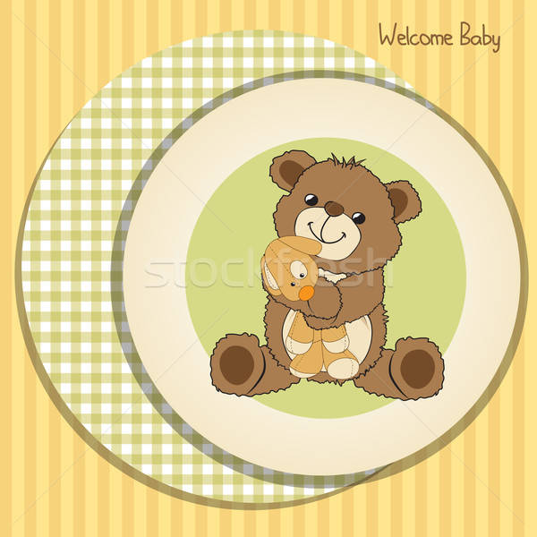Stock photo: baby shower card with teddy bear and his toy