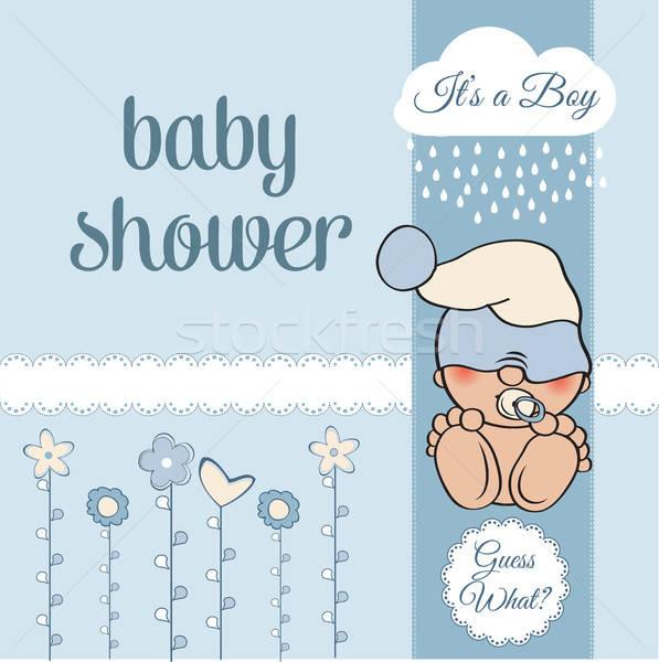 Bebek erkek duş kart komik küçük Stok fotoğraf © balasoiu