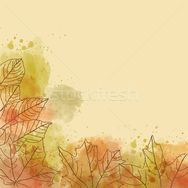 Stock photo: Autumn watercolor background with leaves