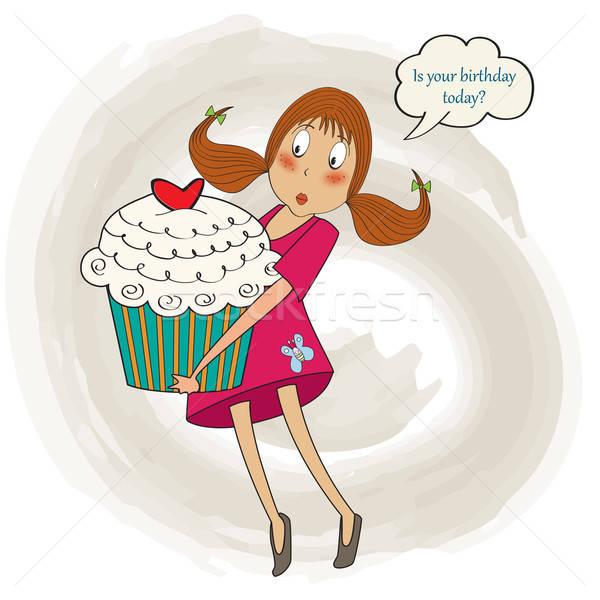 Młodych dość dziewczyna duży ciasto urodziny Zdjęcia stock © balasoiu