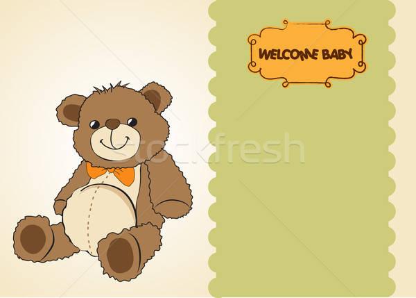 Stok fotoğraf: Bebek · duş · kart · sevimli · oyuncak · ayı · oyuncak