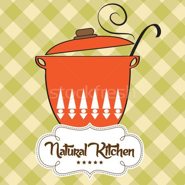 Cooking pan with message 'natural kitchen' Stock photo © balasoiu