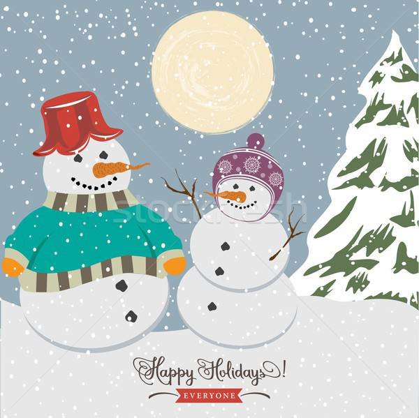 Vintage christmas poster glimlach gelukkig sneeuw Stockfoto © balasoiu