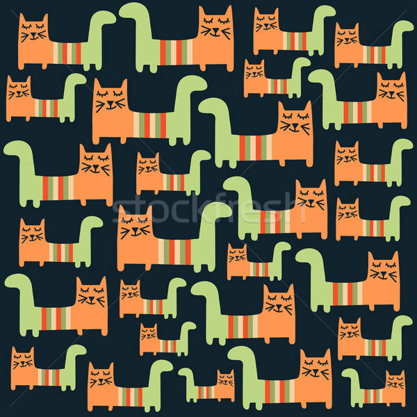 Stock photo: seamless pattern with cats