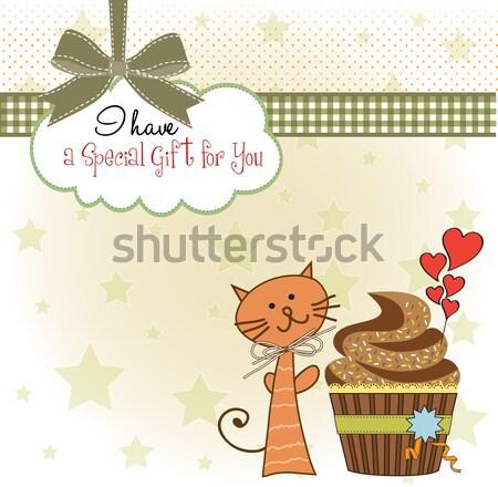 Stok fotoğraf: Doğum · günü · tebrik · kartı · kedi · bekleme · yemek · kek