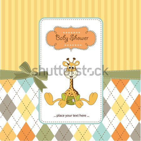 funny baby boy announcement card Stock photo © balasoiu