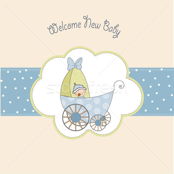 baby boy shower card with stroller Stock photo © balasoiu