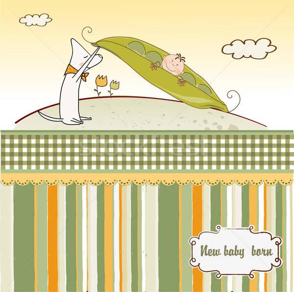little boy sleeping in a pea been, baby announcement card Stock photo © balasoiu
