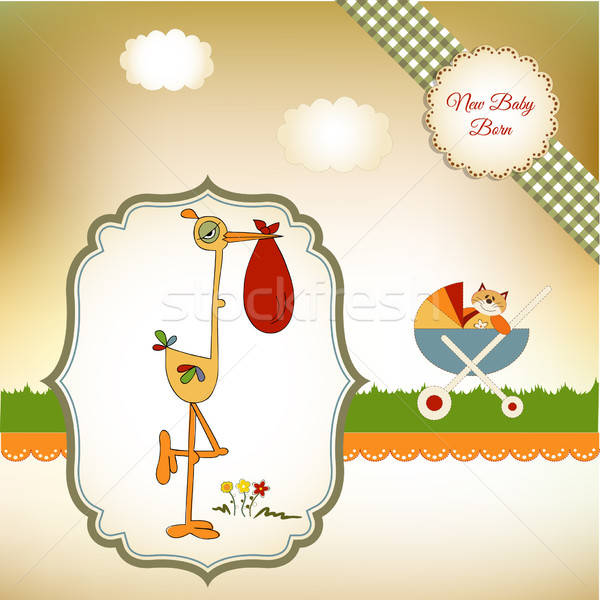 Baba zuhany kártya gólya textúra buli Stock fotó © balasoiu