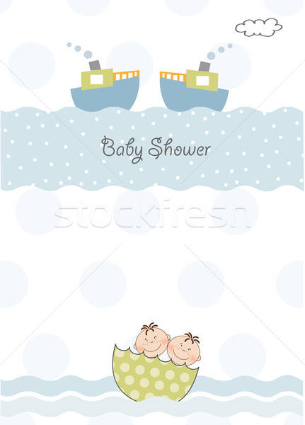 twins baby shower invitation Stock photo © balasoiu