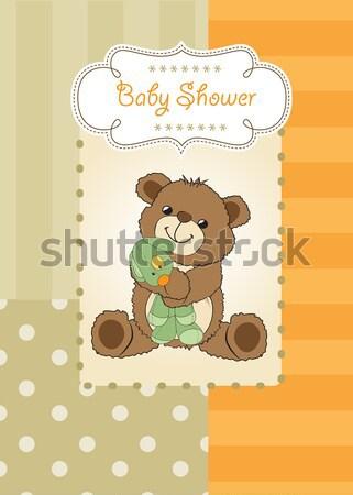 happy birthday card with teddy bear and flower Stock photo © balasoiu