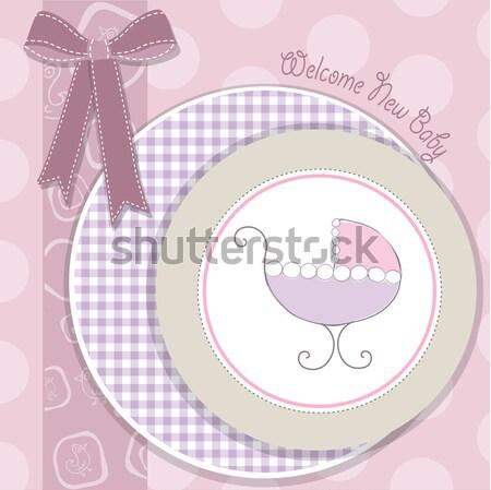 delicate baby girl shower card Stock photo © balasoiu