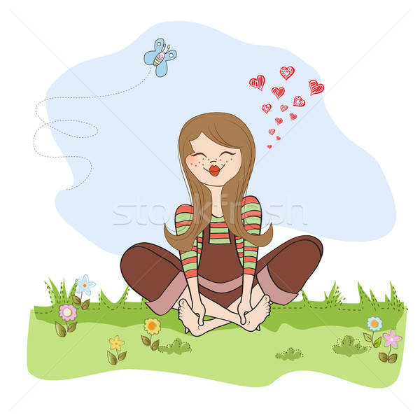 romantic girl sitting barefoot in the grass Stock photo © balasoiu
