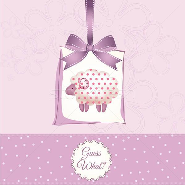Stockfoto: Cute · baby · douche · kaart · schapen · gelukkig