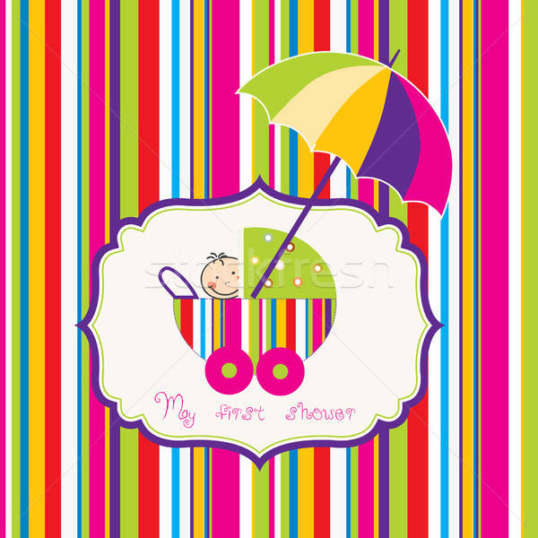 baby shower card with cute stroller Stock photo © balasoiu