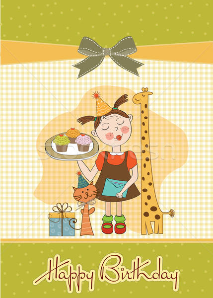 Happy Birthday card with funny girl, animals and cupcakes Stock photo © balasoiu