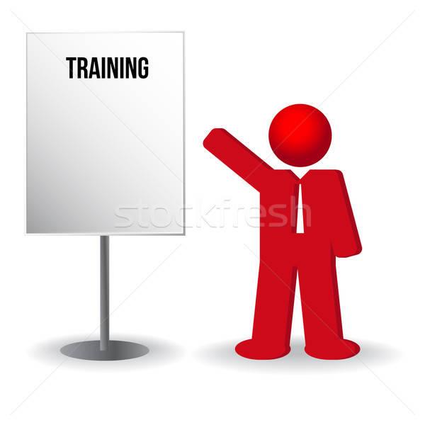 business man, person with a flip chart. Training, work Stock photo © balasoiu
