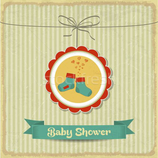 retro baby shower card with little socks Stock photo © balasoiu