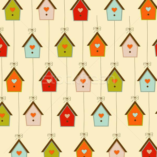 pattern with birdcages Stock photo © balasoiu