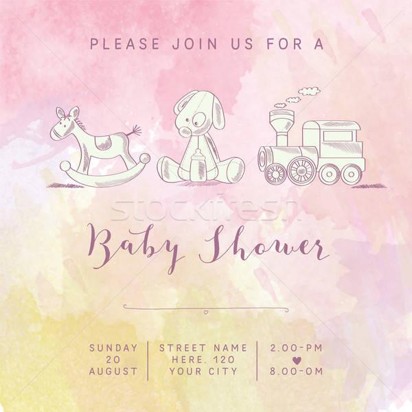 watercolor baby girl shower card with retro toys Stock photo © balasoiu
