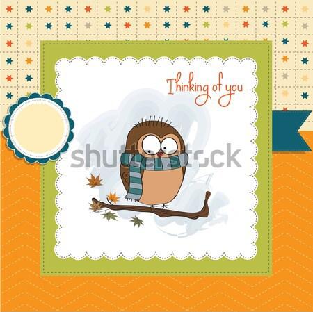 Yeni bebek duyuru kart kuş doğum günü Stok fotoğraf © balasoiu