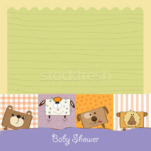 baby shower card with funny cube animals Stock photo © balasoiu