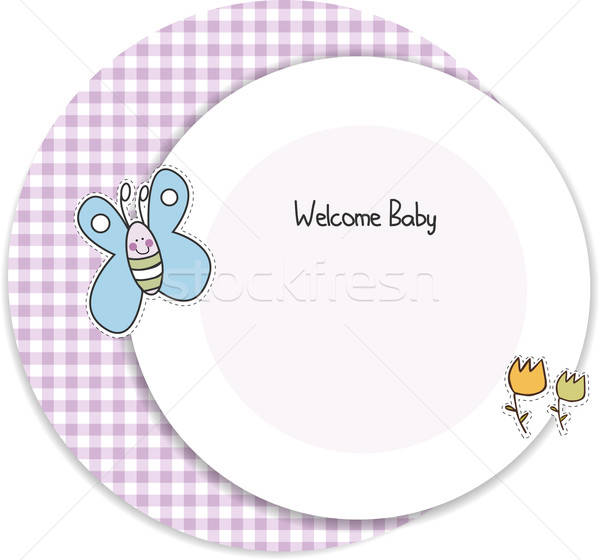 Bebek duş davetiye kız parti kelebek Stok fotoğraf © balasoiu