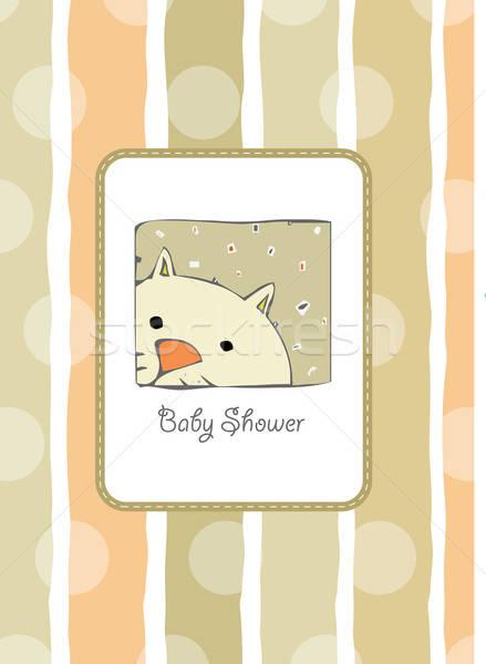 Yeni bebek duş kart kedi arka plan Stok fotoğraf © balasoiu
