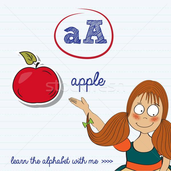 Foto stock: Alfabeto · carta · menina · crianças · maçã · estudante
