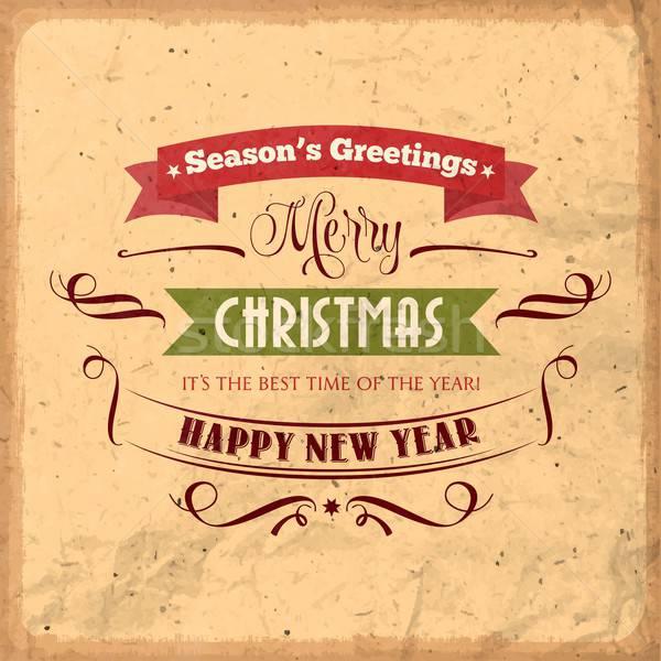 Retro Navidad ilustración vacaciones tipo diseno Foto stock © balasoiu