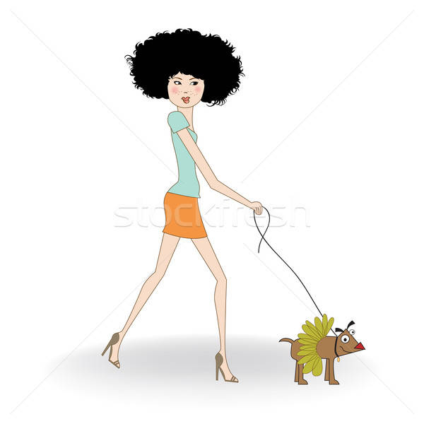 pretty young lady with her dog dressed Stock photo © balasoiu