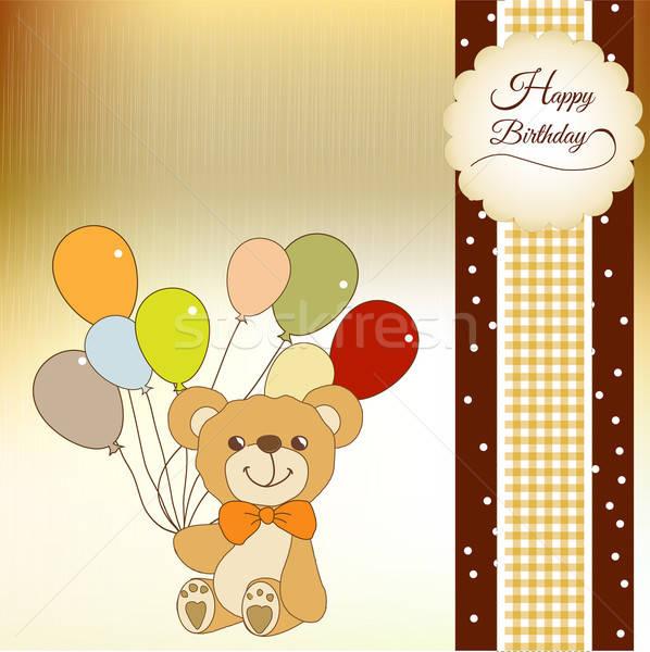 baby shower card with cute teddy bear Stock photo © balasoiu