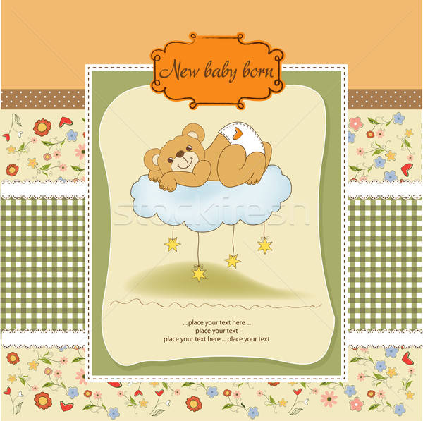 Bébé douche carte somnolent Nounours heureux Photo stock © balasoiu