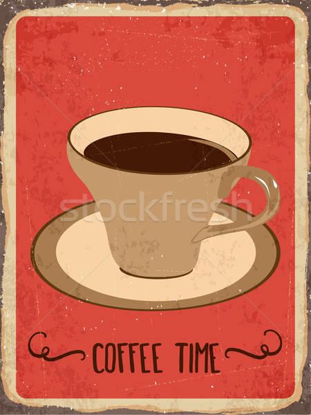 Retro fém felirat kávé idő eps10 Stock fotó © balasoiu