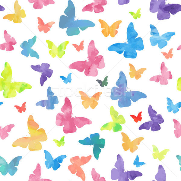 Stock photo: Seamless watercolor butterflies pattern