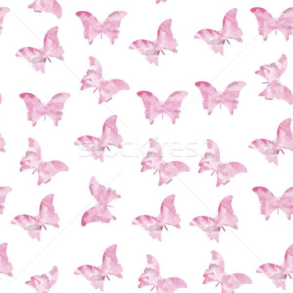 Senza soluzione di continuità acquerello farfalle pattern cielo farfalla Foto d'archivio © balasoiu