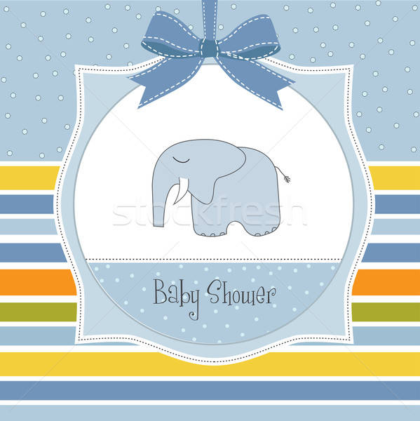 Stock photo: new baby boy announcement card