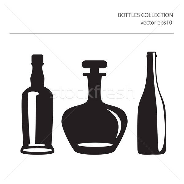 Different Icons Of Silhouettes Of Bottles Stock photo © balasoiu