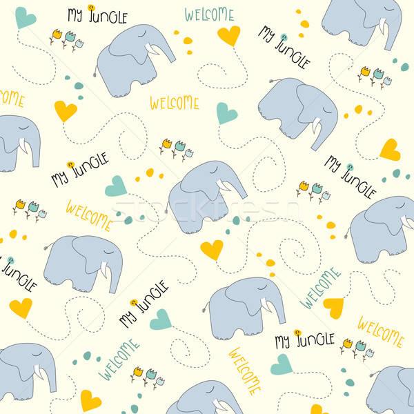 Stock photo: Seamless baby elephant pattern
