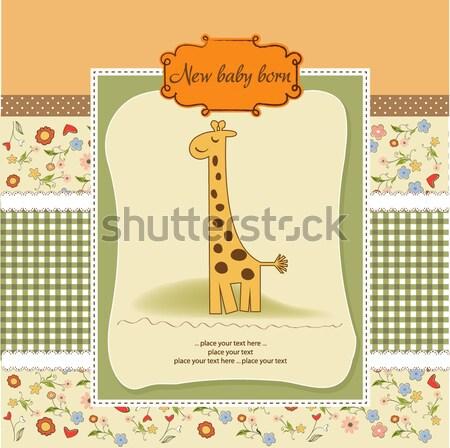 Stock fotó: Gyerekes · üdvözlőlap · zsiráf · születésnap · háttér · fiú