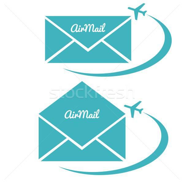 Zarf hava posta imzalamak yalıtılmış vektör Stok fotoğraf © balasoiu